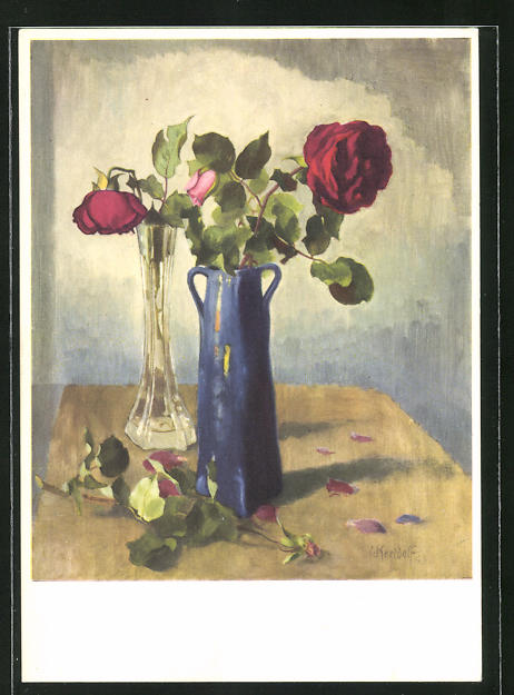 Künstler-AK Ernst Kreidolf: Rose, Stilleben mit Vasen