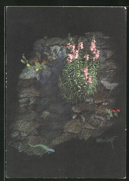 Künstler-AK Ernst Kreidolf: Frühling in Tessin, blühende Pflanze