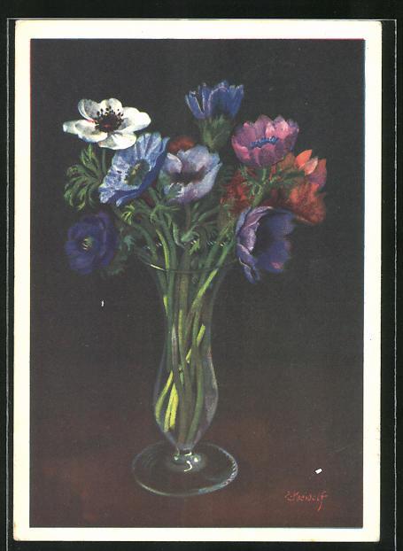 Künstler-AK Ernst Kreidolf: Vase mit Anemonen