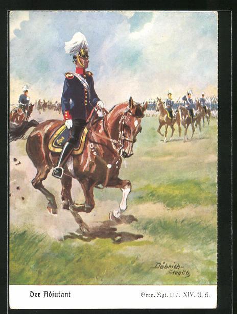 Künstler-AK Döbrich-Steglitz: Der Adjutant, Gren. Regt. 110