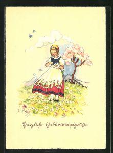 Künstler-AK Liesel Lauterborn: Geburtstagswünsche, Maid auf Wiese