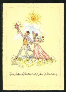 Künstler-AK Liesel Lauterborn: Glückwunsch zum Geburtstag, junge Paar auf Wiese