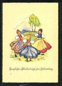 Künstler-AK Liesel Lauterborn: Glückwunsch zum Geburtstag, tanzende Mädchen