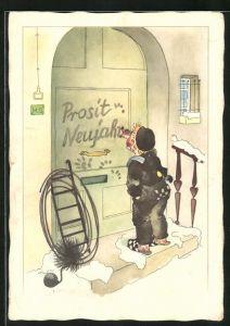 AK Schornsteinfeger malt einen Neujahrsgruss an eine Haustüre