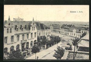 AK Güsten i. Anh., Strassenpartie am Hotel Thüringer Hof