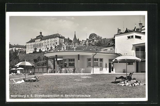 AK Meersburg a. B., Strandbadpavillon m. Reichsfinanzschule