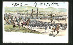 Lithographie Kaisermanöver, Soldaten in Uniformen mit Gewehren