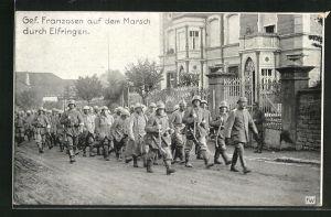 AK Elfringen, Gef. Franzosen auf dem Marsch