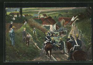 AK Artilleriesoldaten in Uniformen zu Pferde mit Kanonen