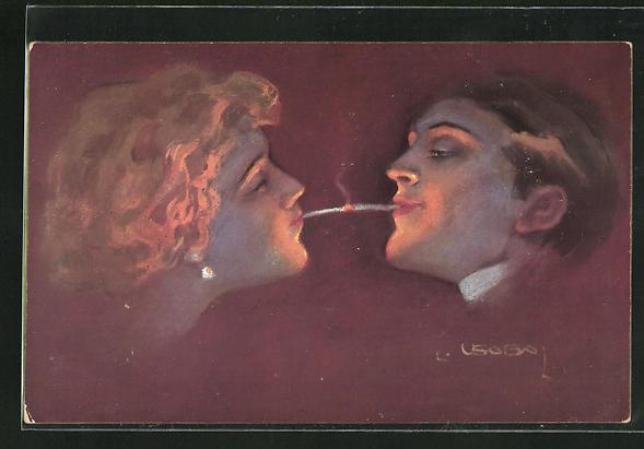 Künstler-AK Luis Usabal: Rauchender Herr mit rauchender Dame