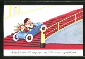 Künstler-AK John Wills: Junger Mann fährt im Auto über eine Treppe