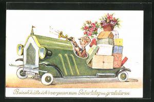 Künstler-AK John Wills: Herr hupt im Auto voller Geschenke