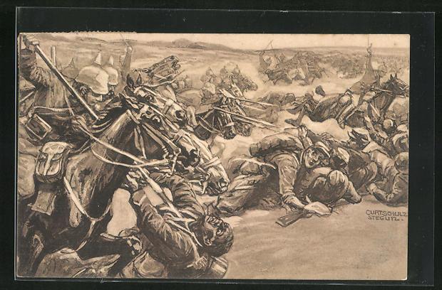Künstler-AK Curt Schulz-Steglitz: Kavallerie-Attacke bei Soissons