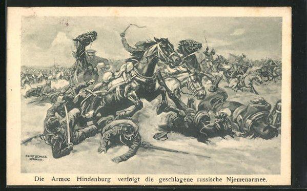 Künstler-AK Curt Schulz-Steglitz: Die Armee Hindenburg verfolgt die geschlagene russische Njemenarmee
