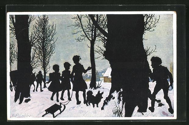 Künstler-AK Rolf Winkler: Winterfreuden, Kinder am Waldrand
