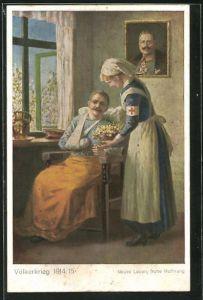 AK Schwester des Roten Kreuzes bringt einem verwundeten Soldaten Blumen, Portrait Kaiser Wilhelm II. an der Wand
