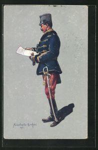 AK Soldat in Uniform des Österr.-Ung. Husarenstabsoffiziers (Felduniform)