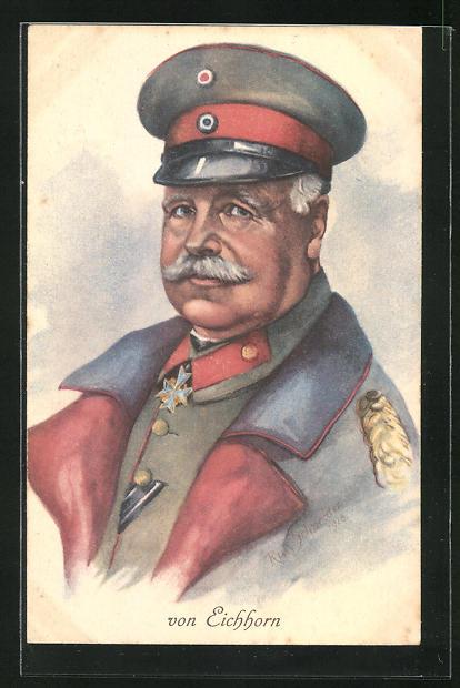 AK General von Eichhorn in feldgrauer Uniform mit Eisernem Kreuz