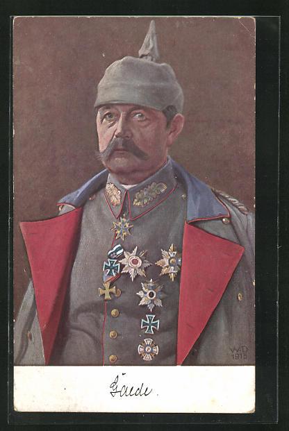 AK General Gaede in feldgrauer Uniform mit Pickelhaube und Eisernem Kreuz