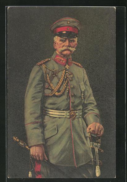 AK General in feldgrauer Uniform mit Eisernem Kreuz
