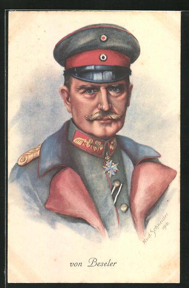 AK General von Beseler in feldgrauer Uniform mit Mantel und Eisernem Kreuz