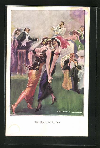 Künstler-AK Luis Usabal: The dance of today, Frauen beim Tanz