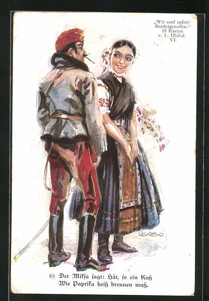 Künstler-AK Luis Usabal: Soldat flirtet mit dem ungarischen Mädchen