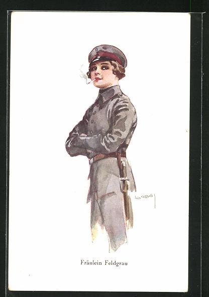 Künstler-AK Luis Usabal: Frau in feldgrauer Uniform mit Zigarette, Fräulein Feldgrau