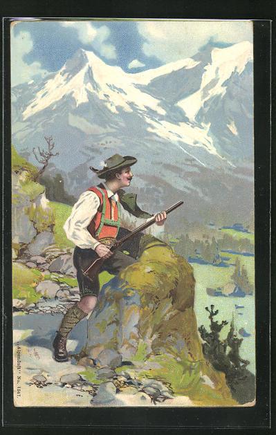 AK Jäger mit Gewehr im Gebirge