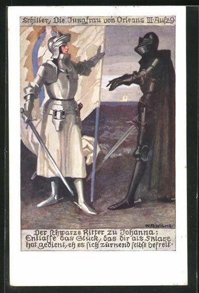 Künstler-AK Karl Alex Wilke: Schiller, Die Jungfrau von Orleans III. Aufz. 9, Der schwarze Ritter u. Johanna