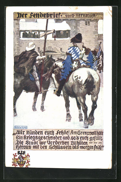 Künstler-AK Karl Alex Wilke: Der Fehdenbrief, Wir künden euch Fehde!...