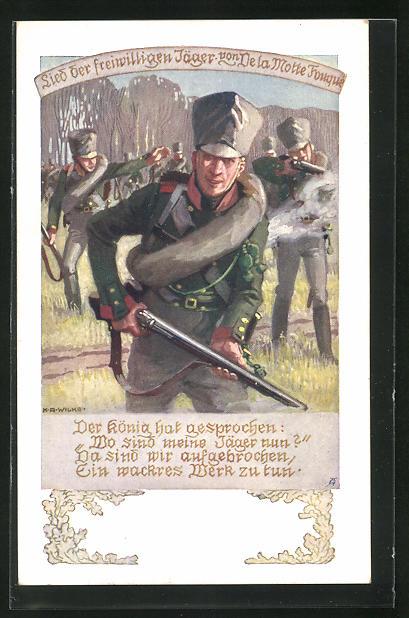 Künstler-AK Karl Alex Wilke: Lied der freiwilligen Jäger, Soldaten in Uniformen mit Gewehren