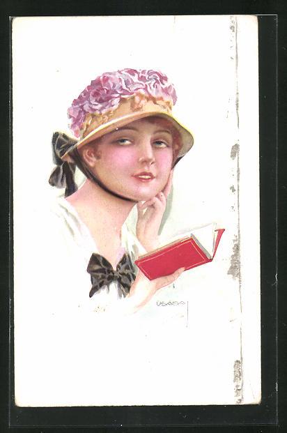 Künstler-AK Luis Usabal: Junge Frau mit Hut beim Lesen