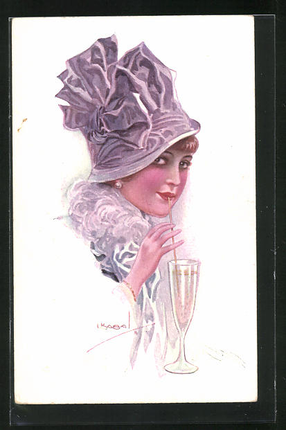Künstler-AK Luis Usabal: Junge Frau mit Hut trinkt durch einen Strohhalm
