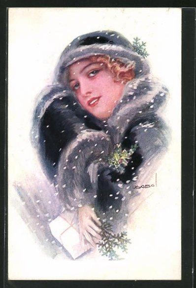 Künstler-AK Luis Usabal: Dame im Wintermantel mit Päckchen