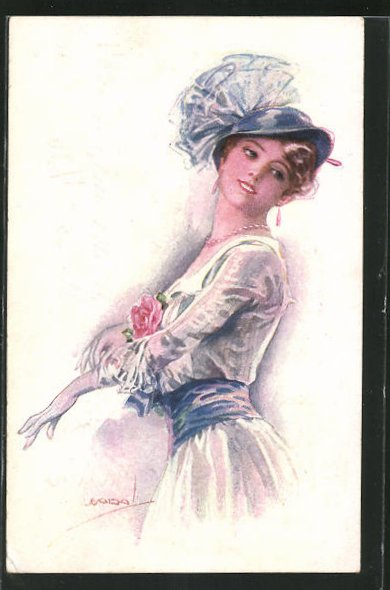 Künstler-AK Luis Usabal: Elegante Dame im Sommerkleid mit Hut