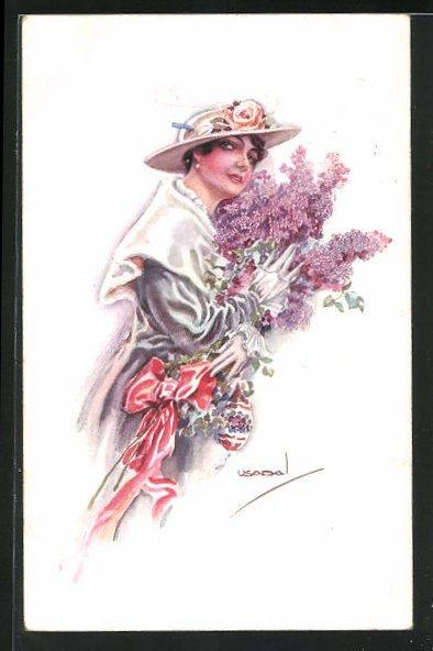 Künstler-AK Luis Usabal: Elegante Dame mit einem Strauss Flieder