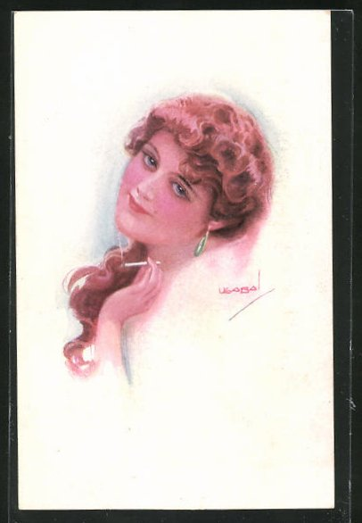 Künstler-AK Luis Usabal: Dame mit Ohrring und Zigarette