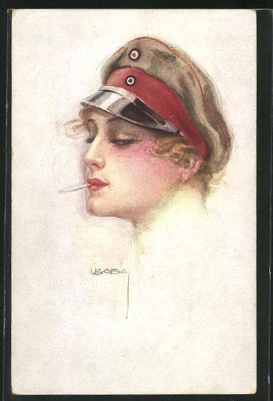 Künstler-AK Luis Usabal: Junge Frau mit Zigarette und Soldatenmütze