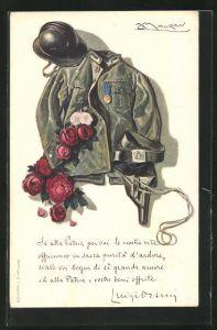 Künstler-AK Mauzan: Uniform eines italienischen Soldaten mit Blumen und Helm