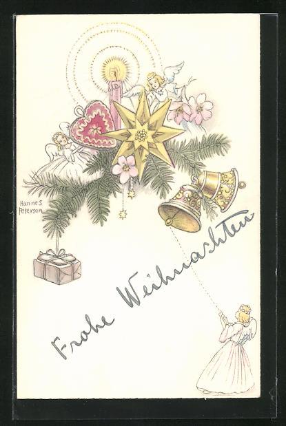 Künstler-AK Hannes Petersen: Zweig mit Sternen, Blumen, Geschenken, Glöckchen, Kerze und Engel, Weihnachtskarte