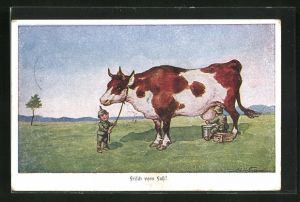 Künstler-AK Ad. Hoffmann: Kleine Soldaten melken eine Kuh
