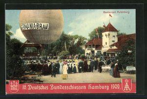 AK Hamburg, 16. Deutsches Bundesschiessen 1909, Ballon vor Restaurant Rotenburg, Schützenverein