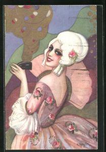 Künstler-AK Carlo Chiostri: Lächelnde Dame mit Fächer und weisser Perücke
