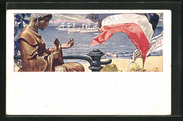 AK Kiautschou, deutsche Kriegsschiffe vor der Küste, deutsche Reichsflagge weht am Ufer