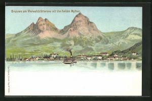 AK Künzli Nr. 5022, Brunnen am Vierwaldstättersee mit den beiden Mythen, Berg mit Gesicht / Berggesichter