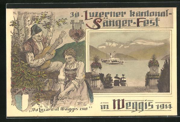 AK Weggis, 30. Luzerner Kantonal-Sängerfest 1914, Dampfer auf dem See, Paar beim Musizieren