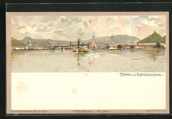Lithographie Como, Dampfer passiert Ausstellungsgelände