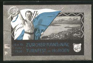 AK Horgen, Zürcher Kantonal-Turnfest 1908, Ortsansicht, Turner mit Flagge und Siegerkranz, Wappen