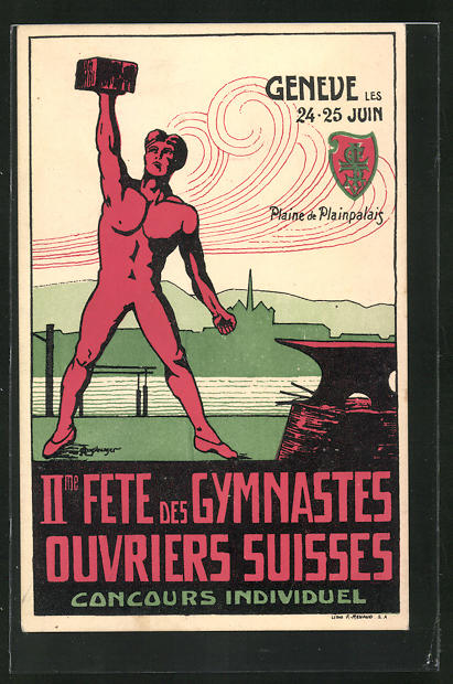 AK Geneve, II. Fete des Gymnaste Ouvriers Suisses, Turnfest, Turner mit Amboss